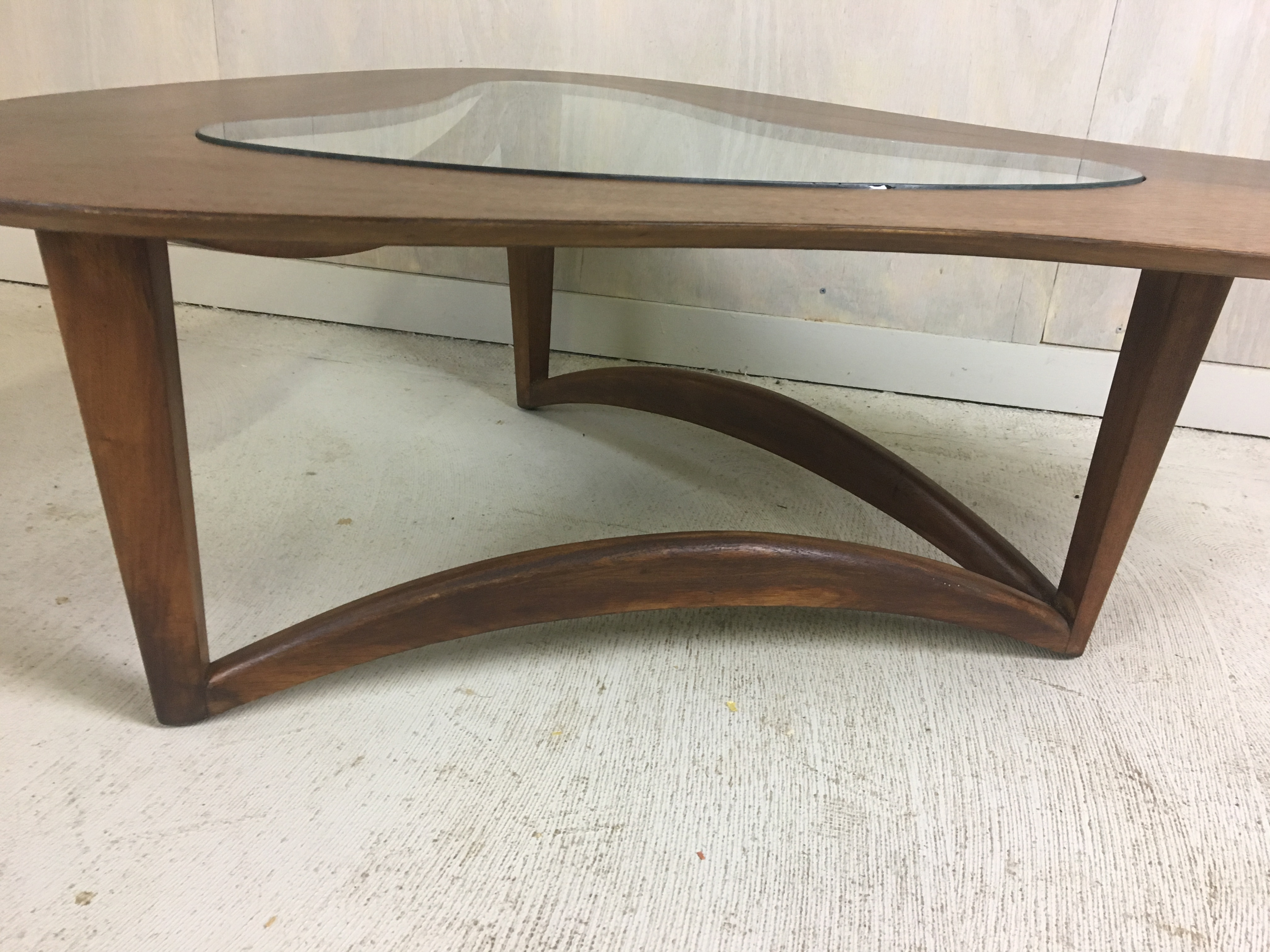 Biomorphic Coffee Table with Glass Insert