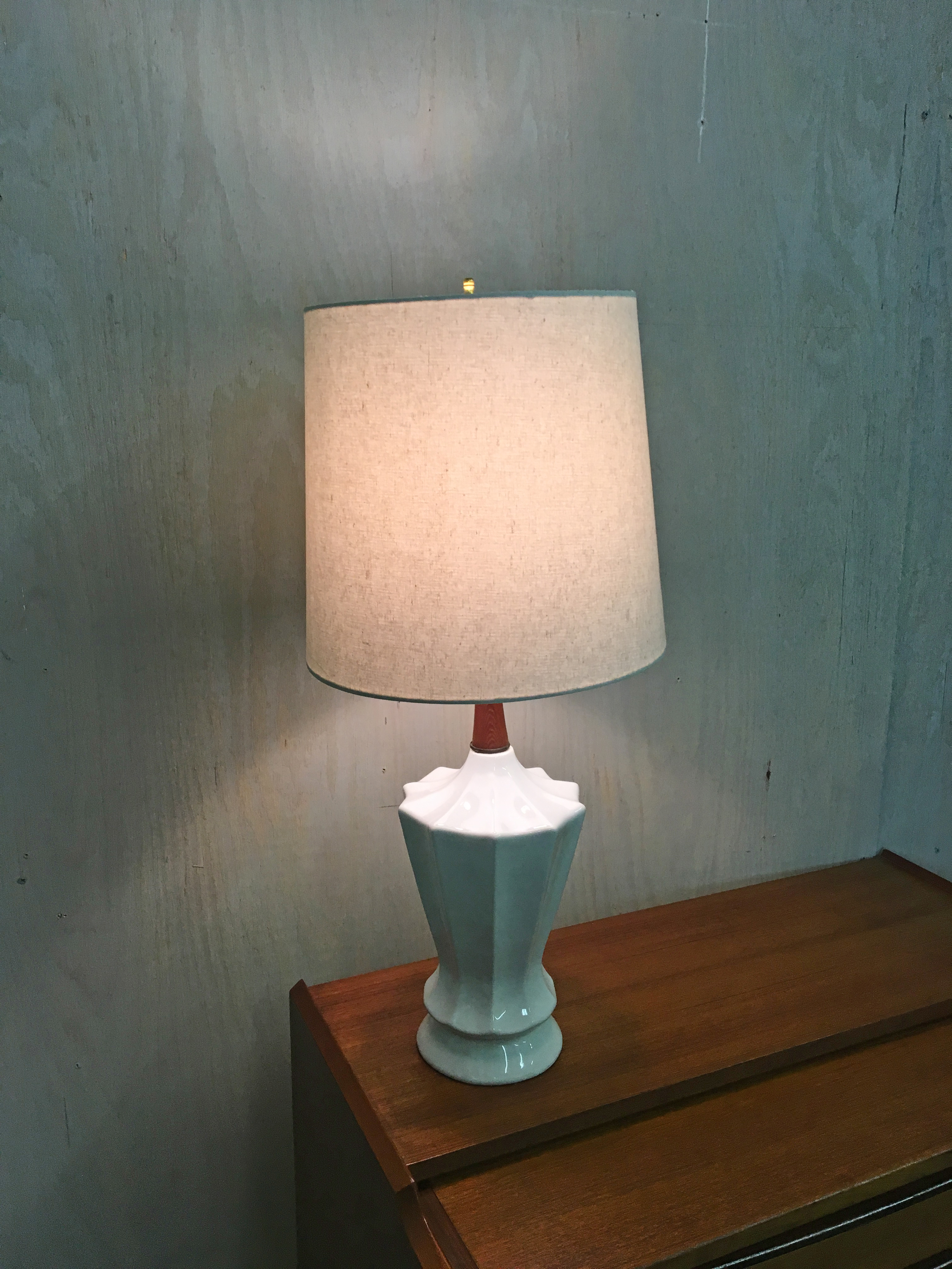 Pair of White Ceramic Table Lamps