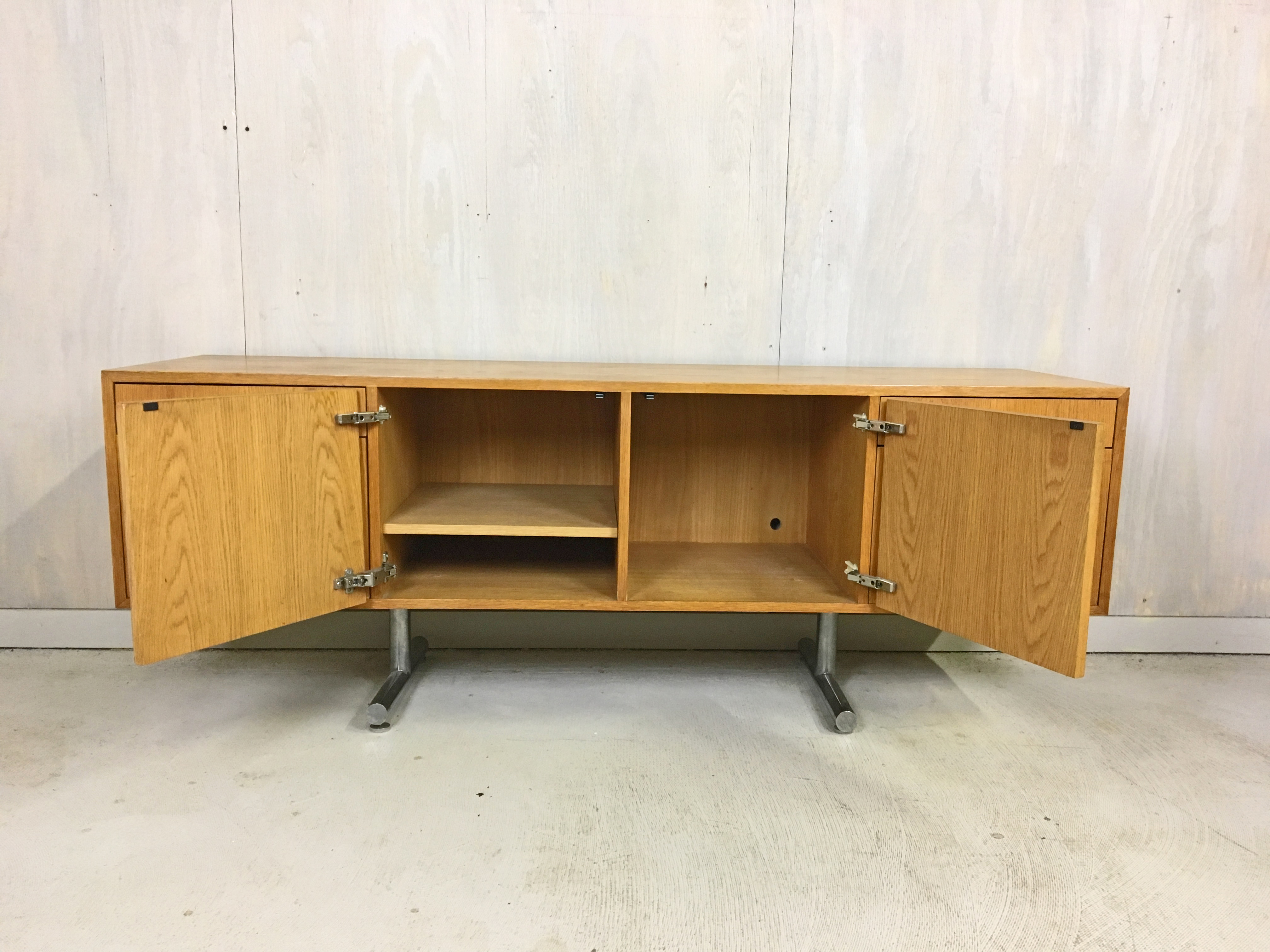 SALE - Hans Eichenberger Oak Credenza for Stendig with Chrome Base