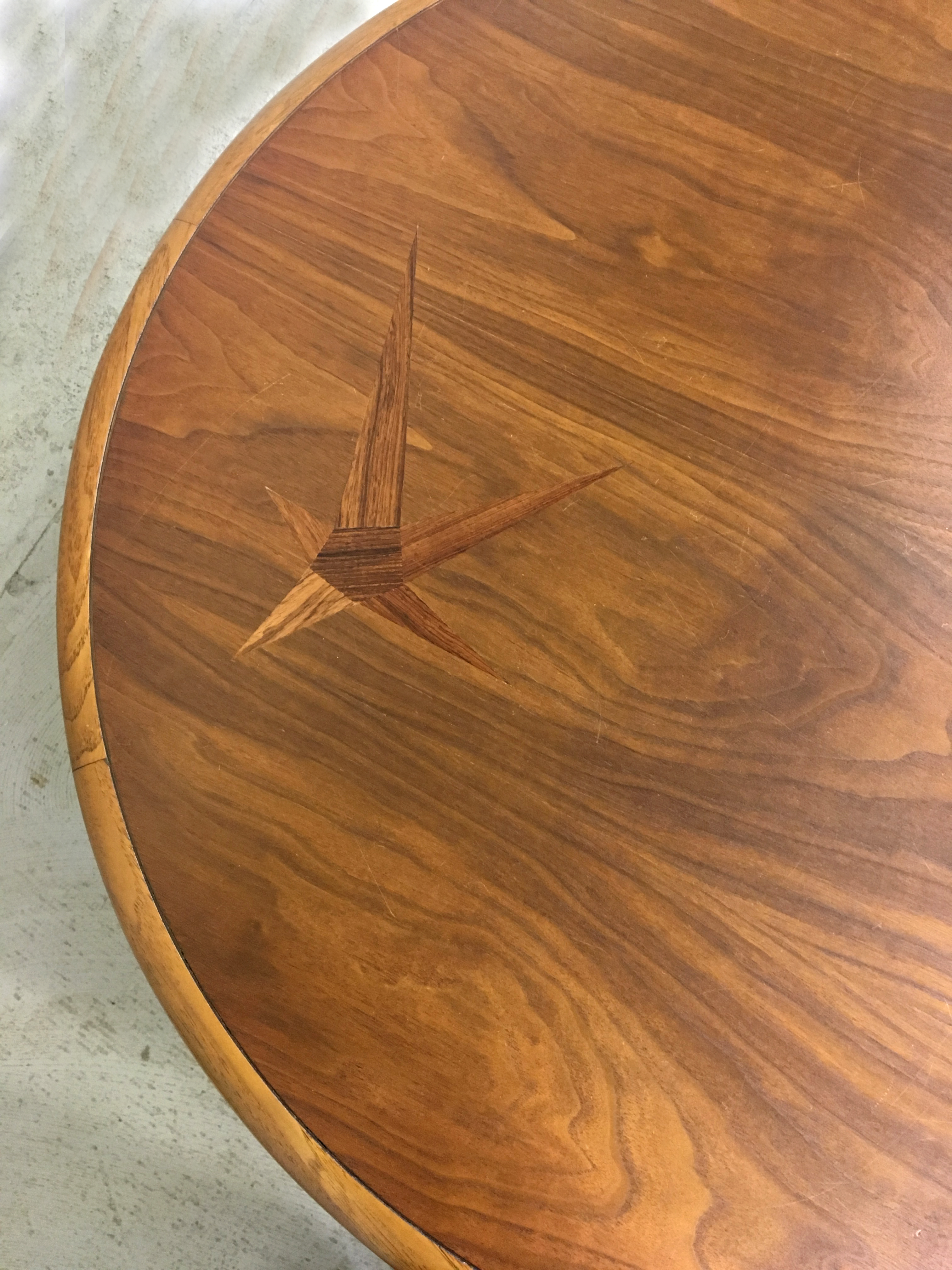 Lane Round Coffee Table with Rosewood Inlay