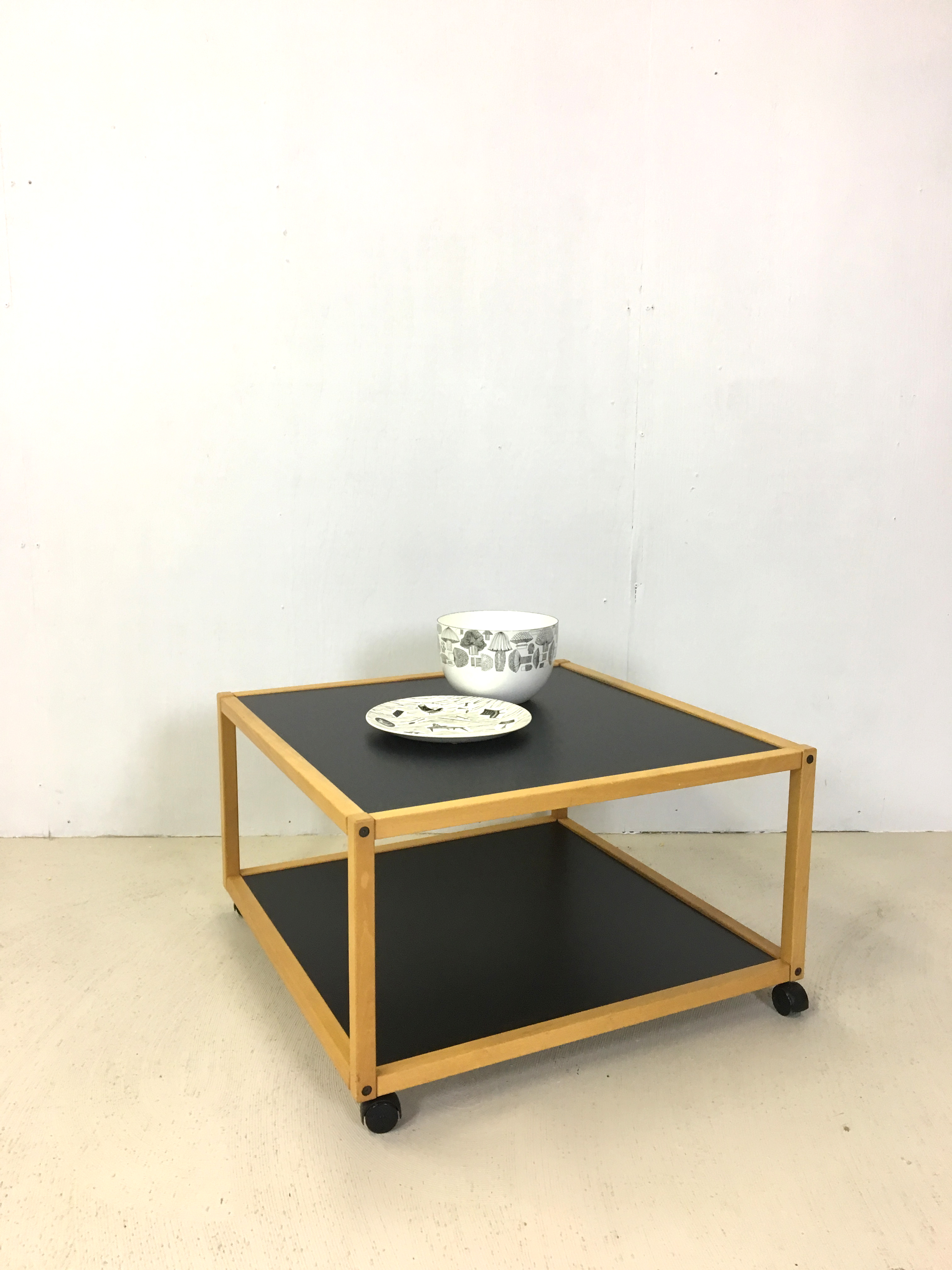 Rolling Black & White Accent Table