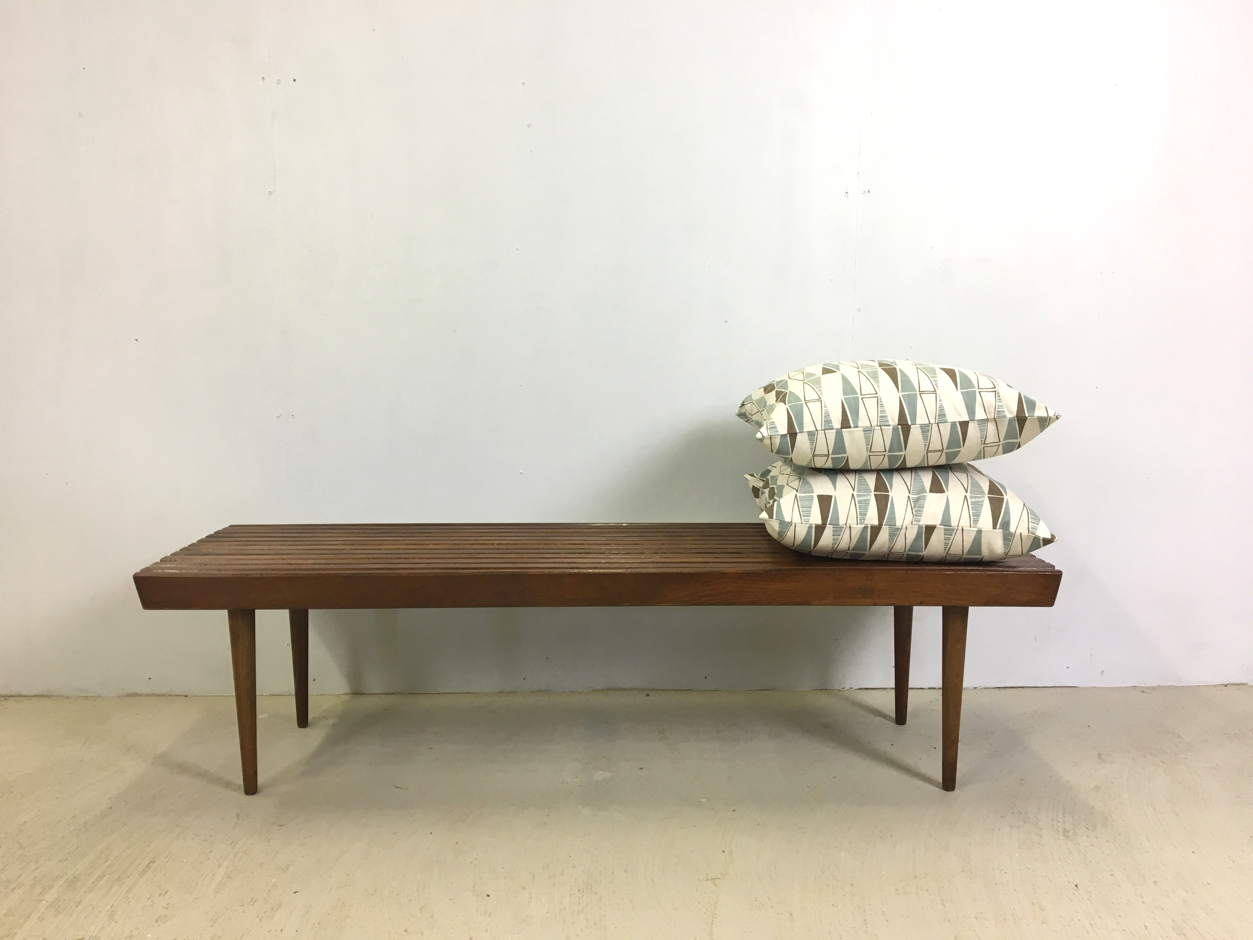 Slatted Walnut Bench or Coffee Table