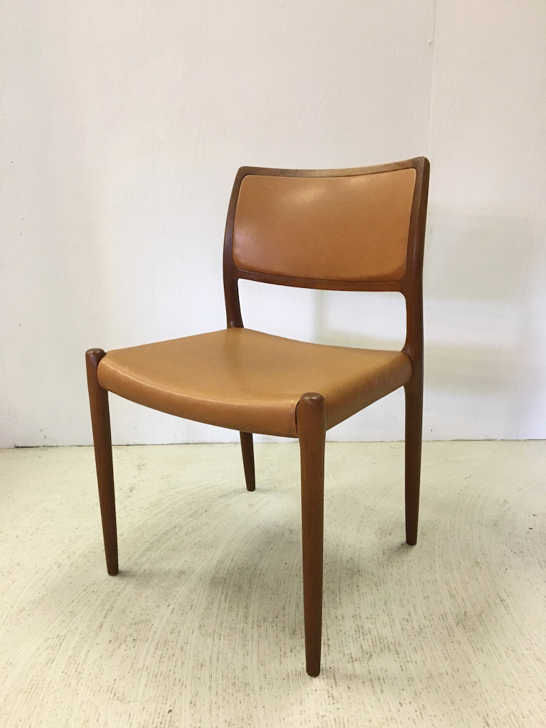 Moller Teak and Leather Dining Chairs Model #80