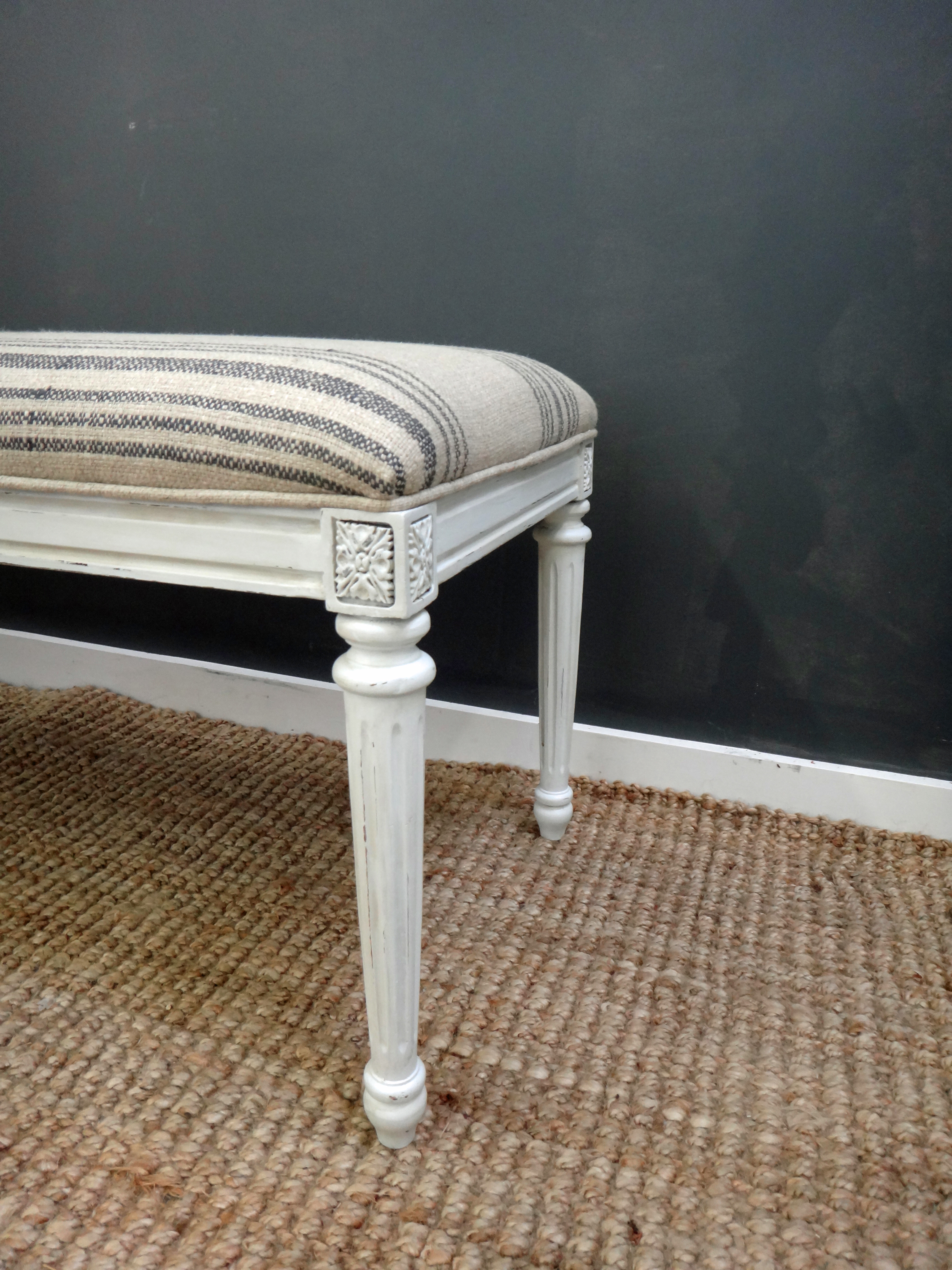 Rustic Linen Upholstered Bench