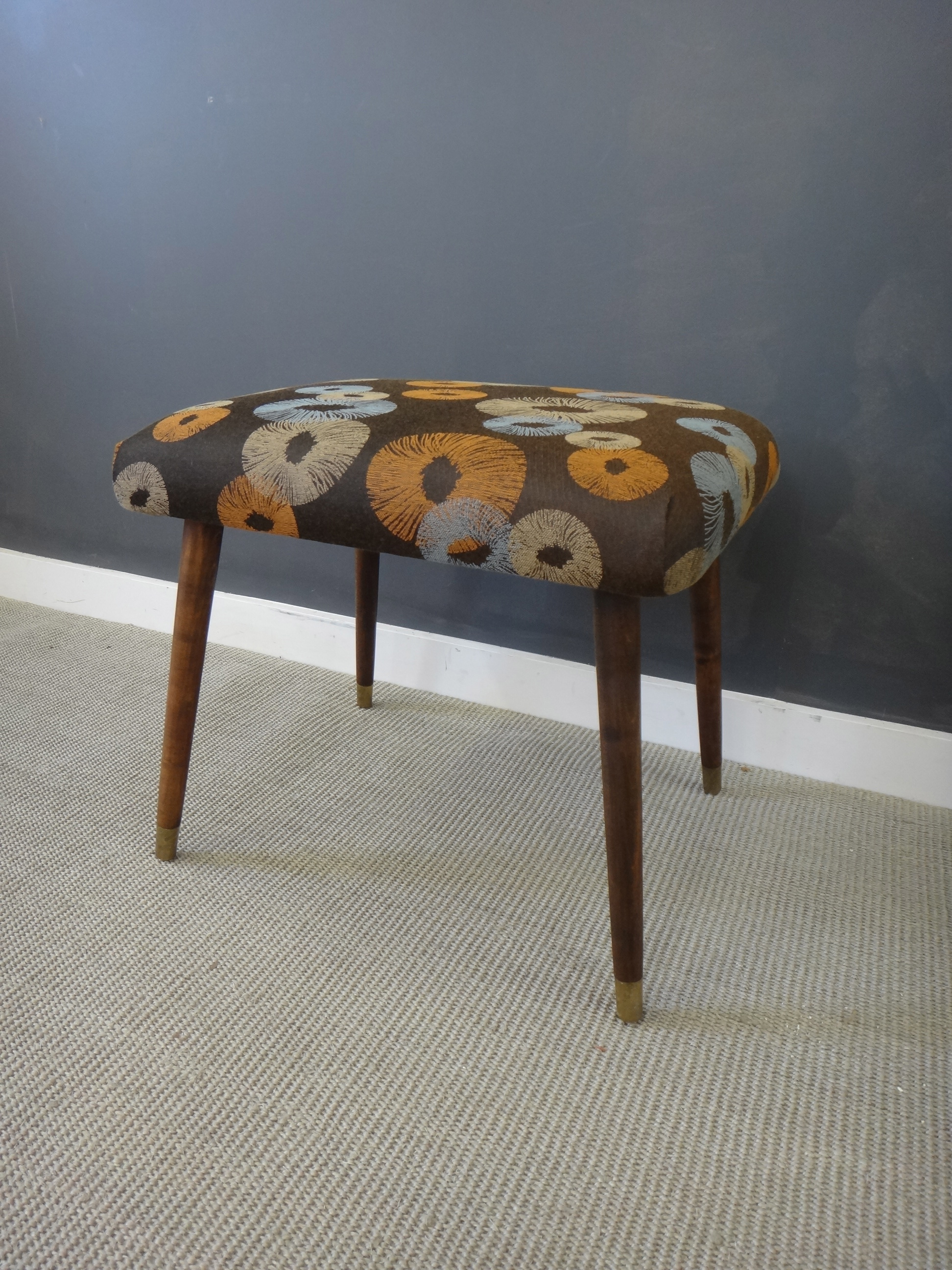 Reupholstered Mid Century Ottoman