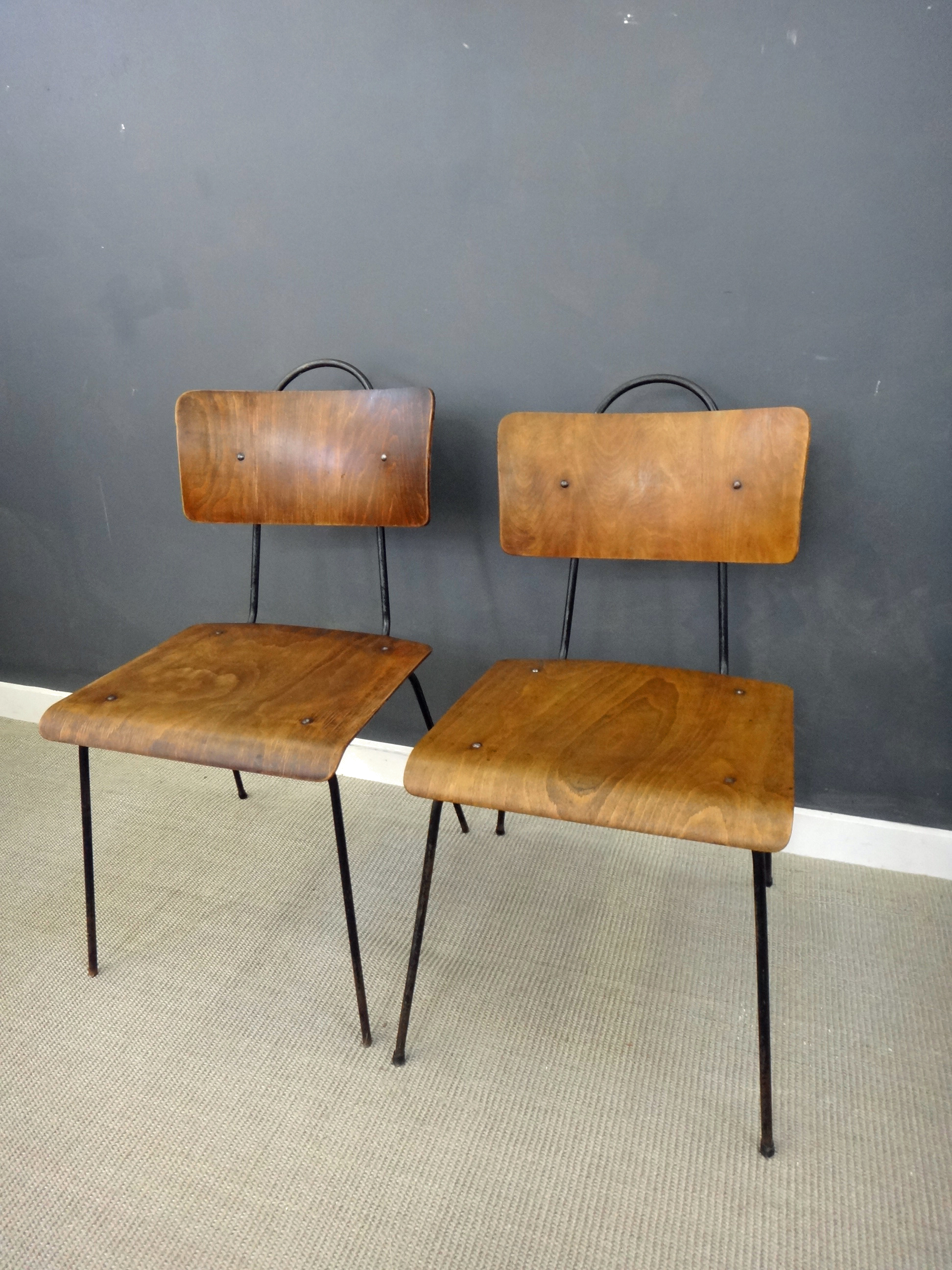 Pair Vintage Metal & Wood Chairs