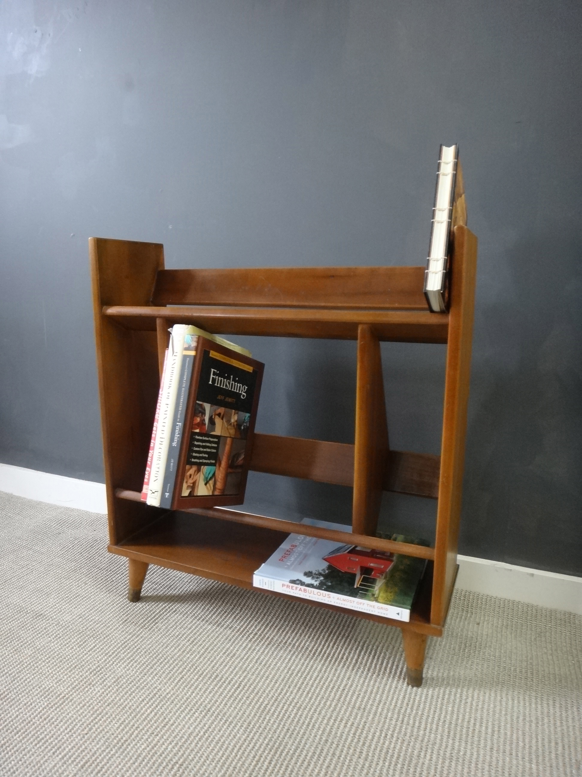 Mid Century Wood Book Stand/Shelf
