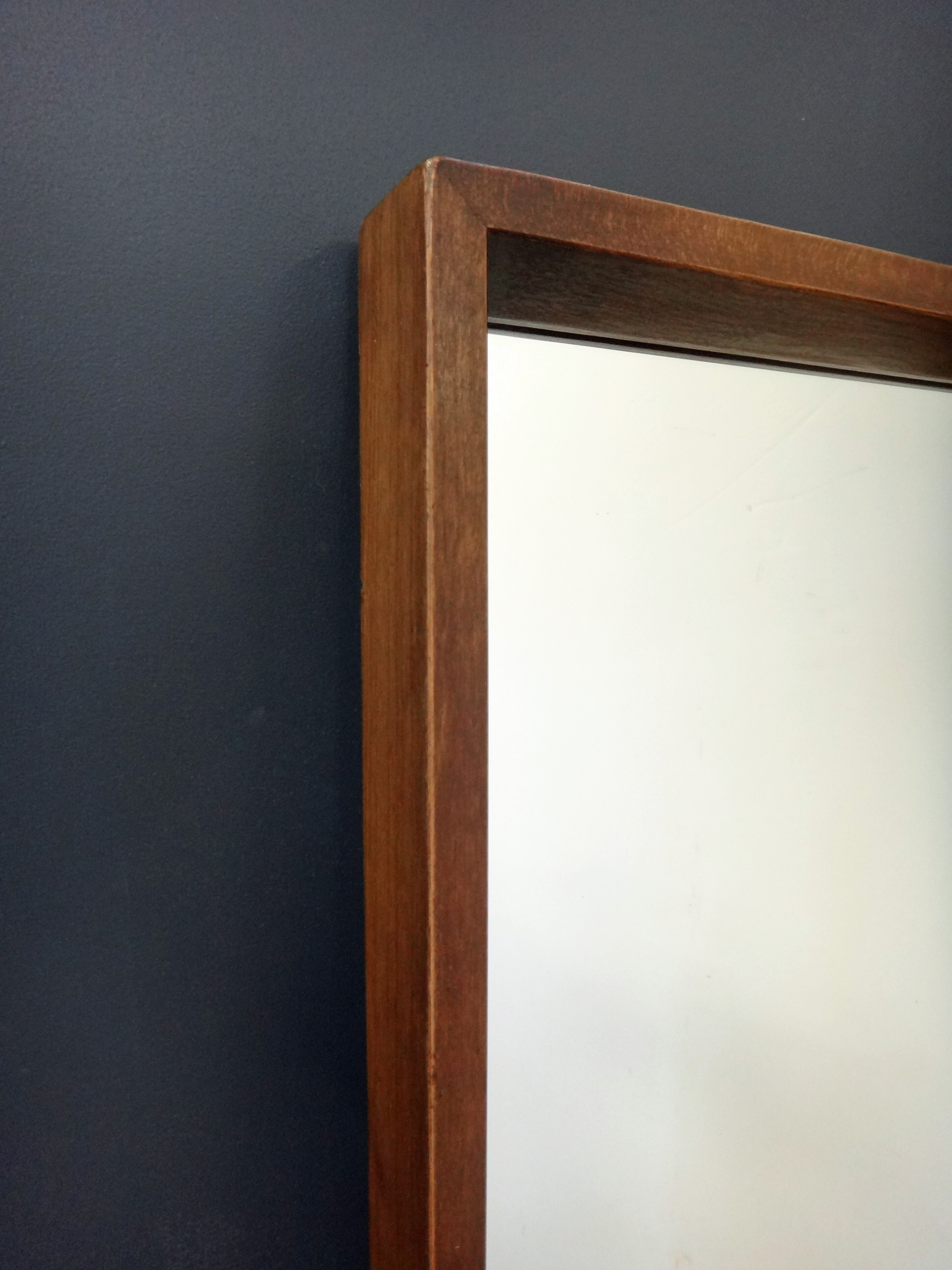 Large Mid Century Wood Mirror