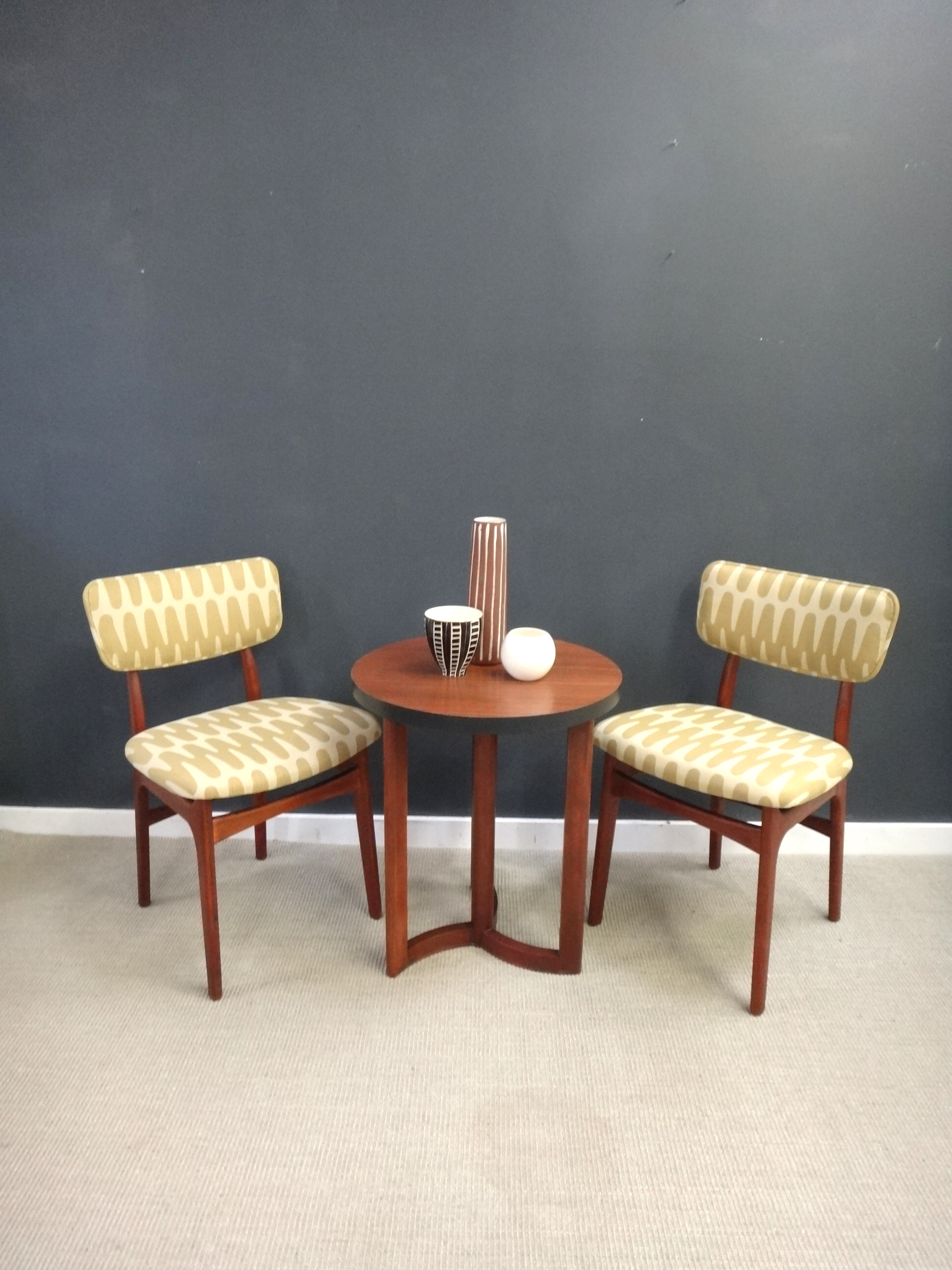 Accent Chairs Sold In Pairs.Pair Of Reupholstered Mid Century Teak Accent Chairs Retrocraft