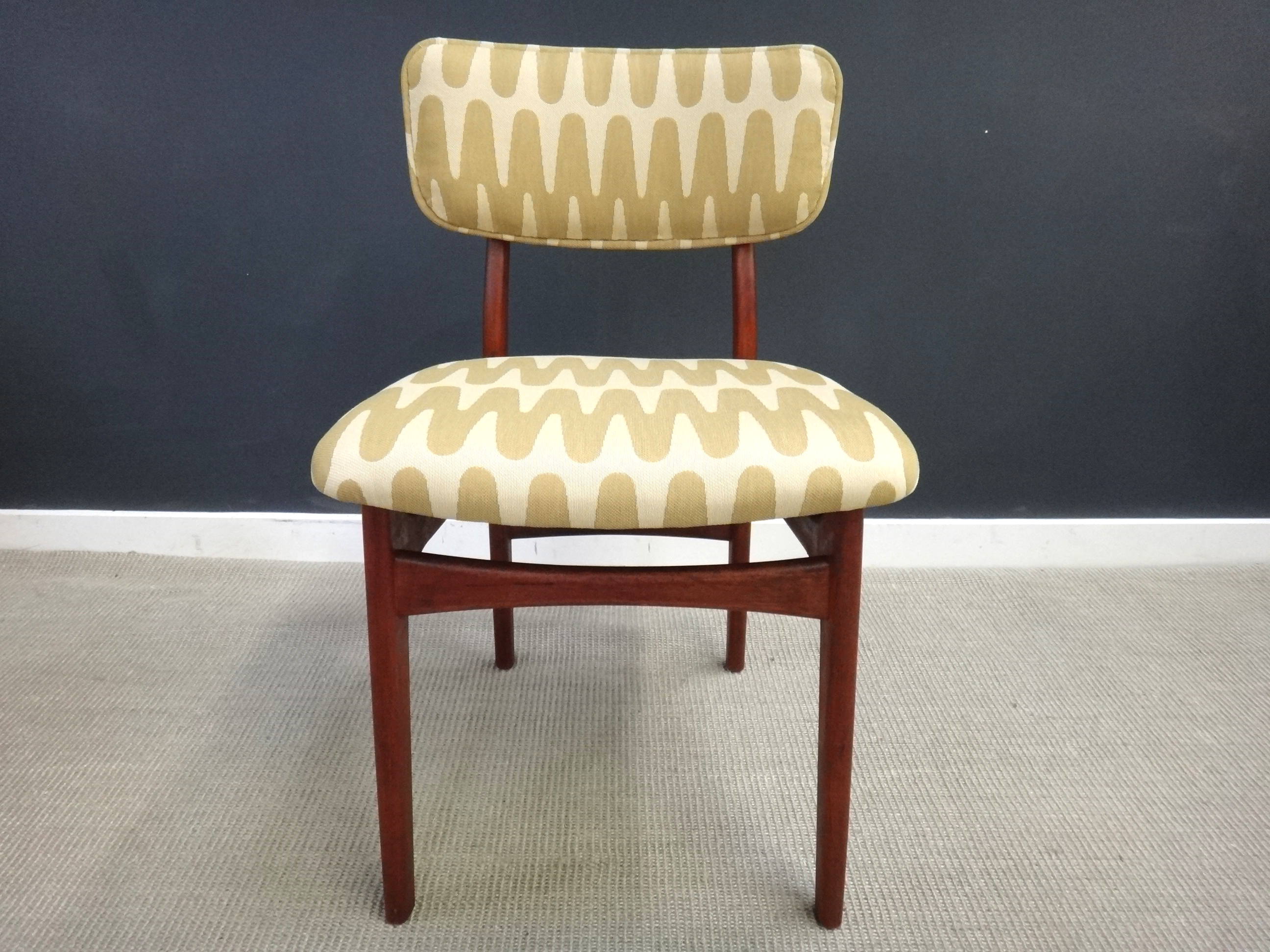Pair of Reupholstered Mid Century Teak Accent Chairs