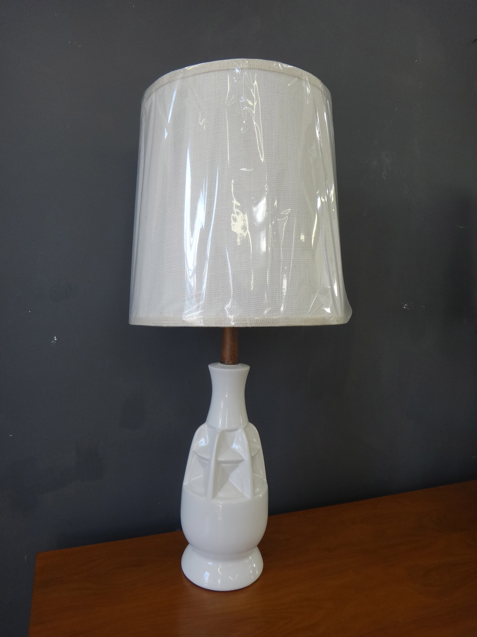 Set of Mid Century White Ceramic Table Lamps