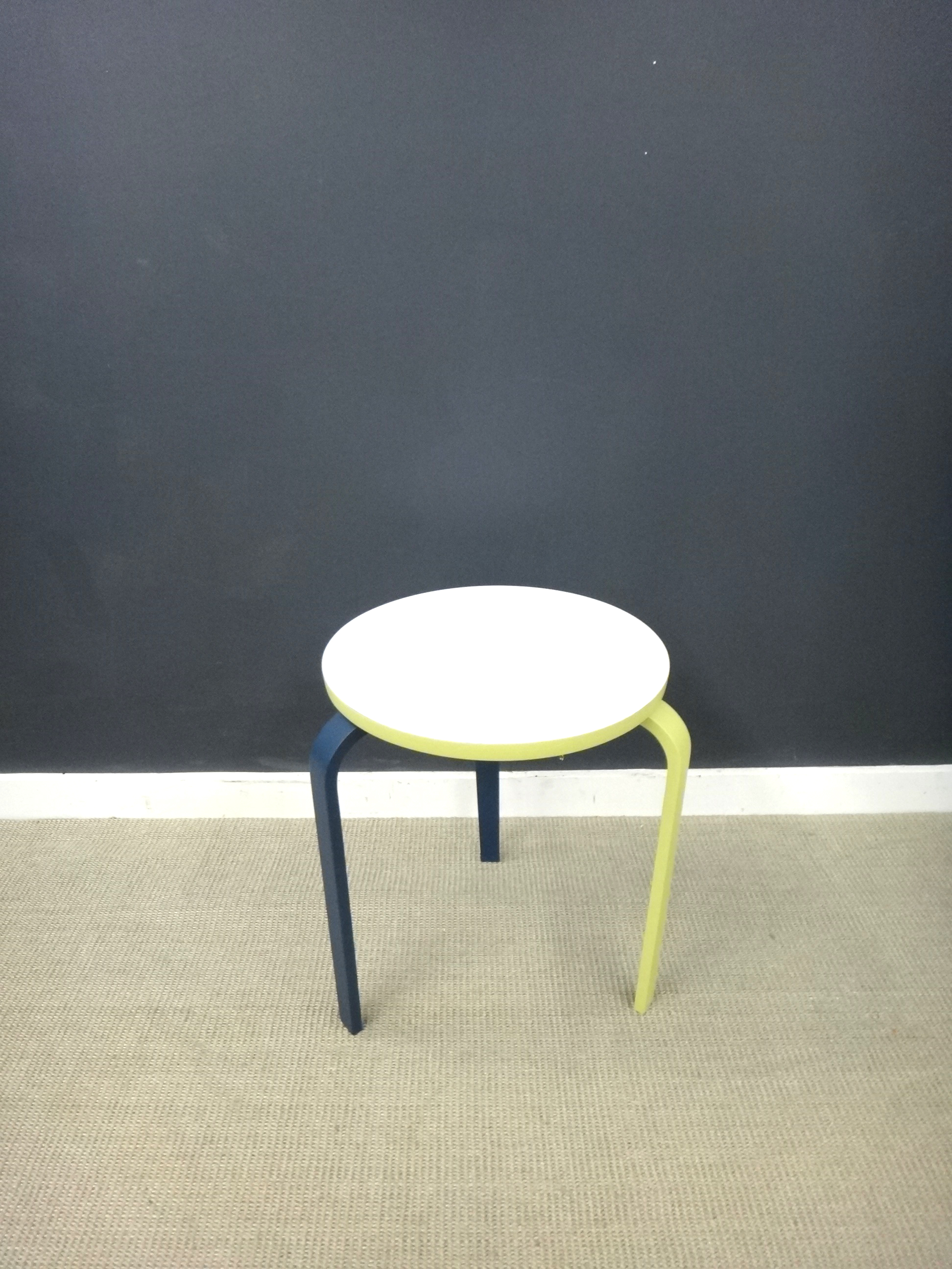 Painted Mid Century 3-Legged Stool