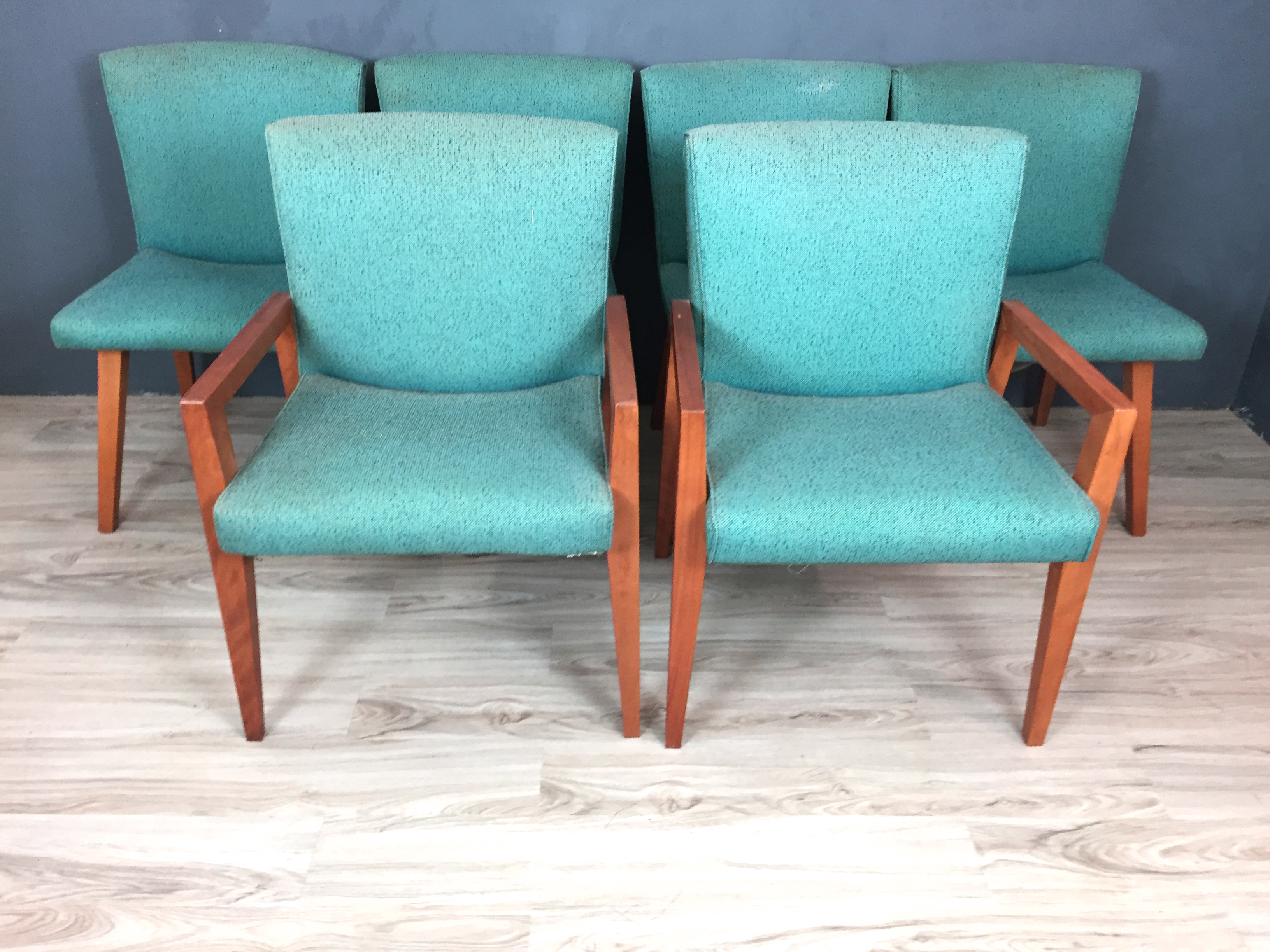 Set of Conant Ball Upholstered Dining Chairs