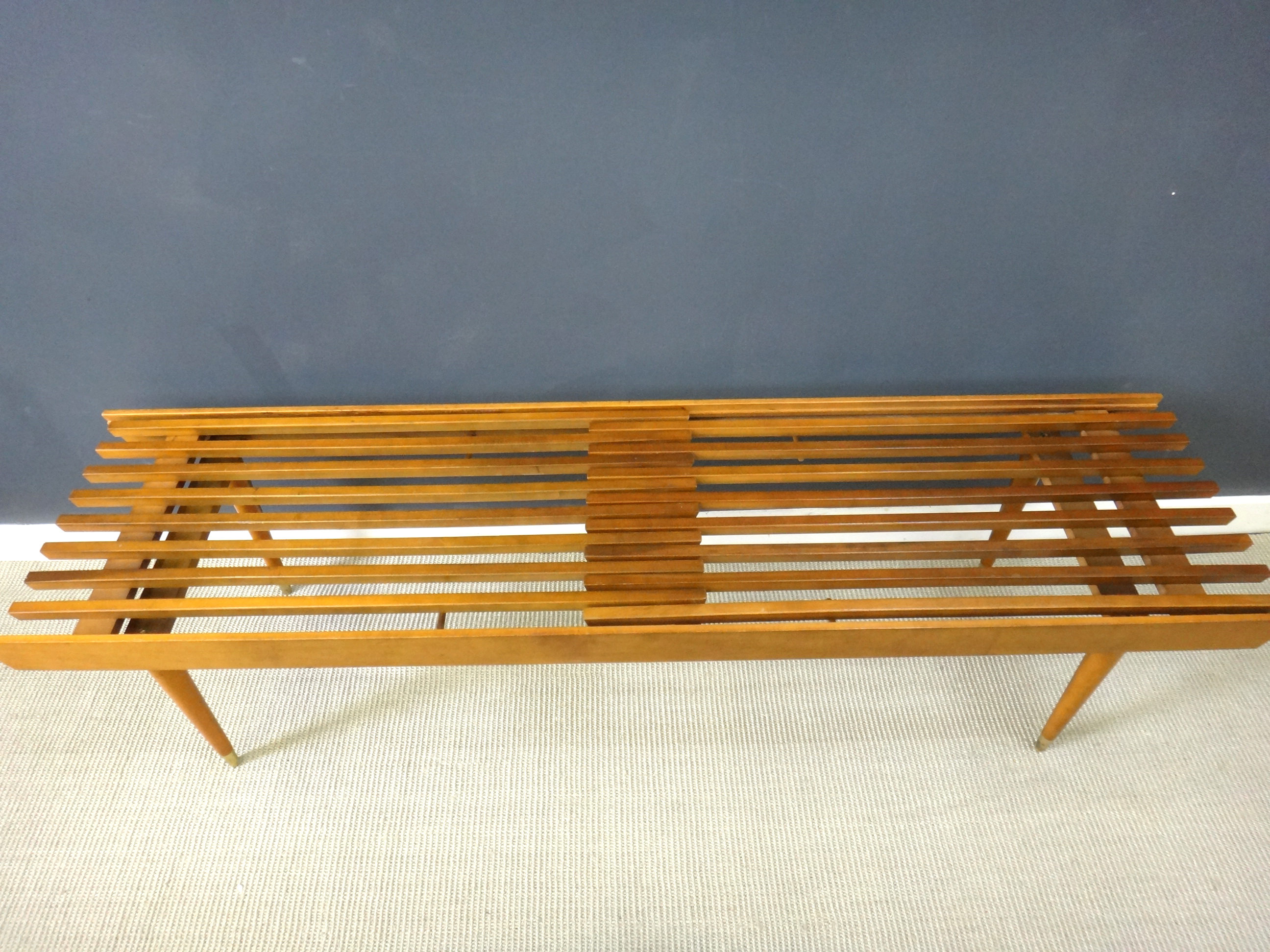 Mid Century Wood Slat Bench