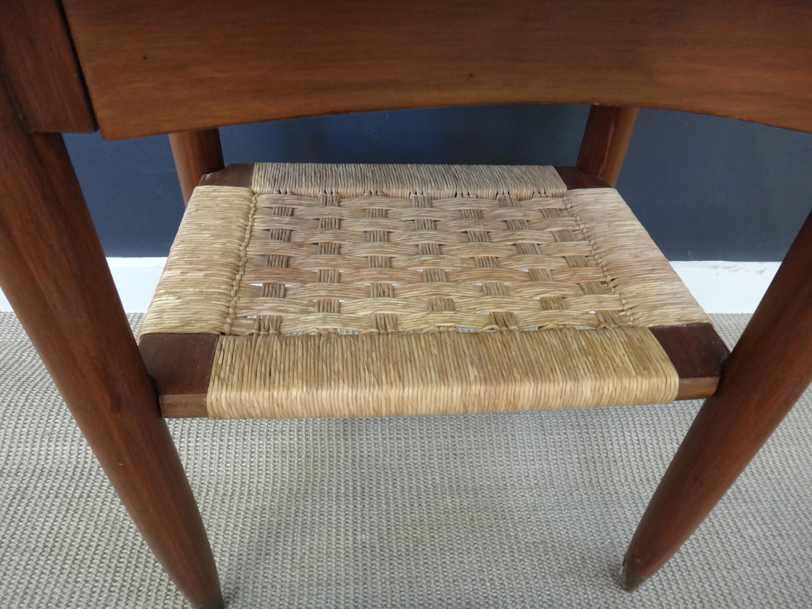 Mid Century Side Table with Woven Shelf