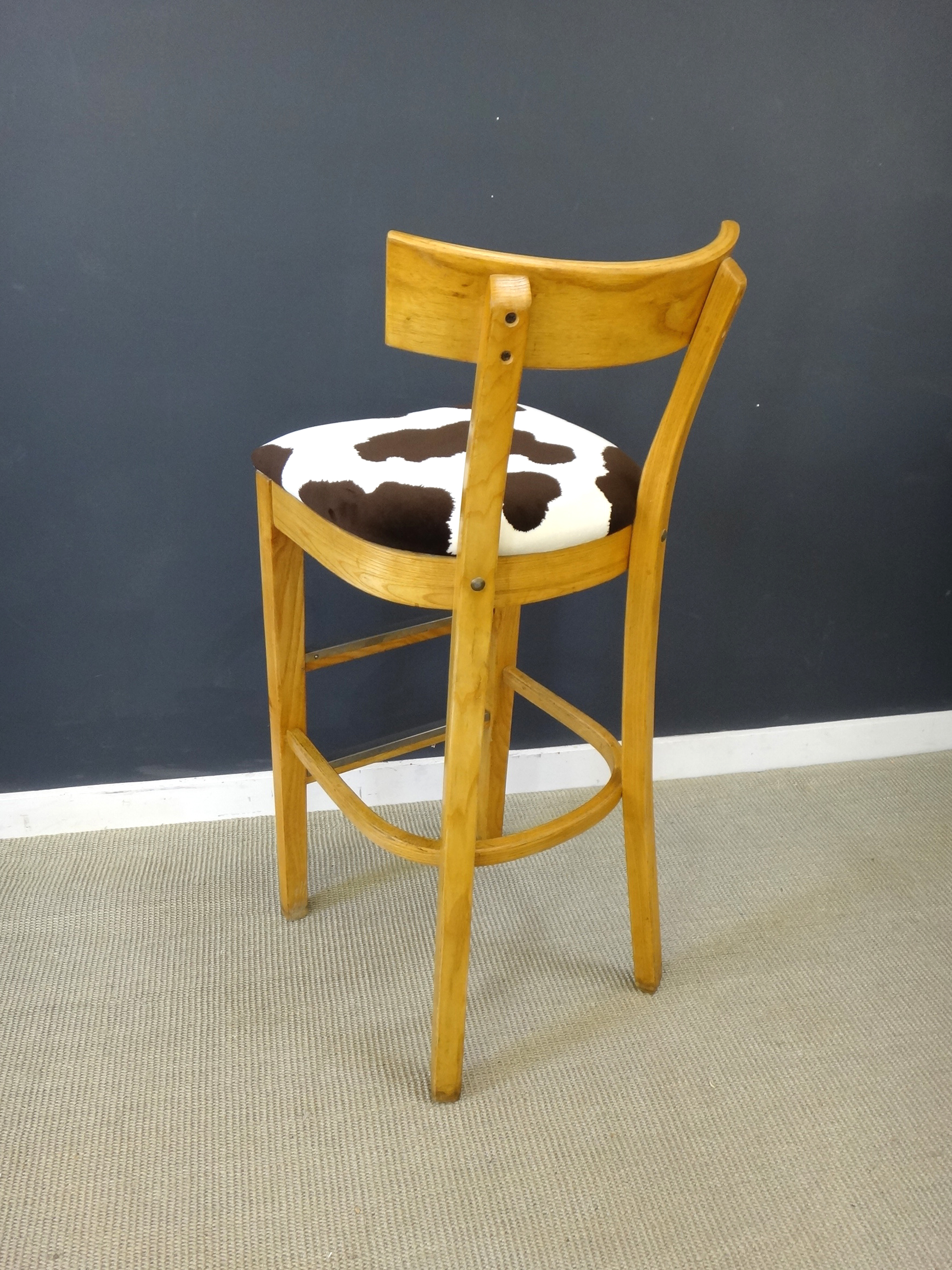 Reupholstered Vintage Wood Bar Stools