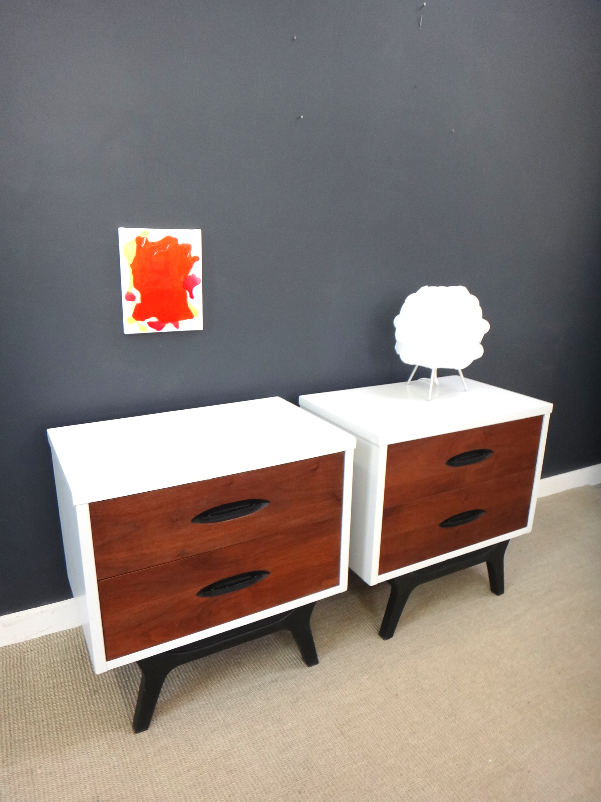 Picture of: Pair Painted Mid Century Bedside Tables Retrocraft Design Collection Sold Items