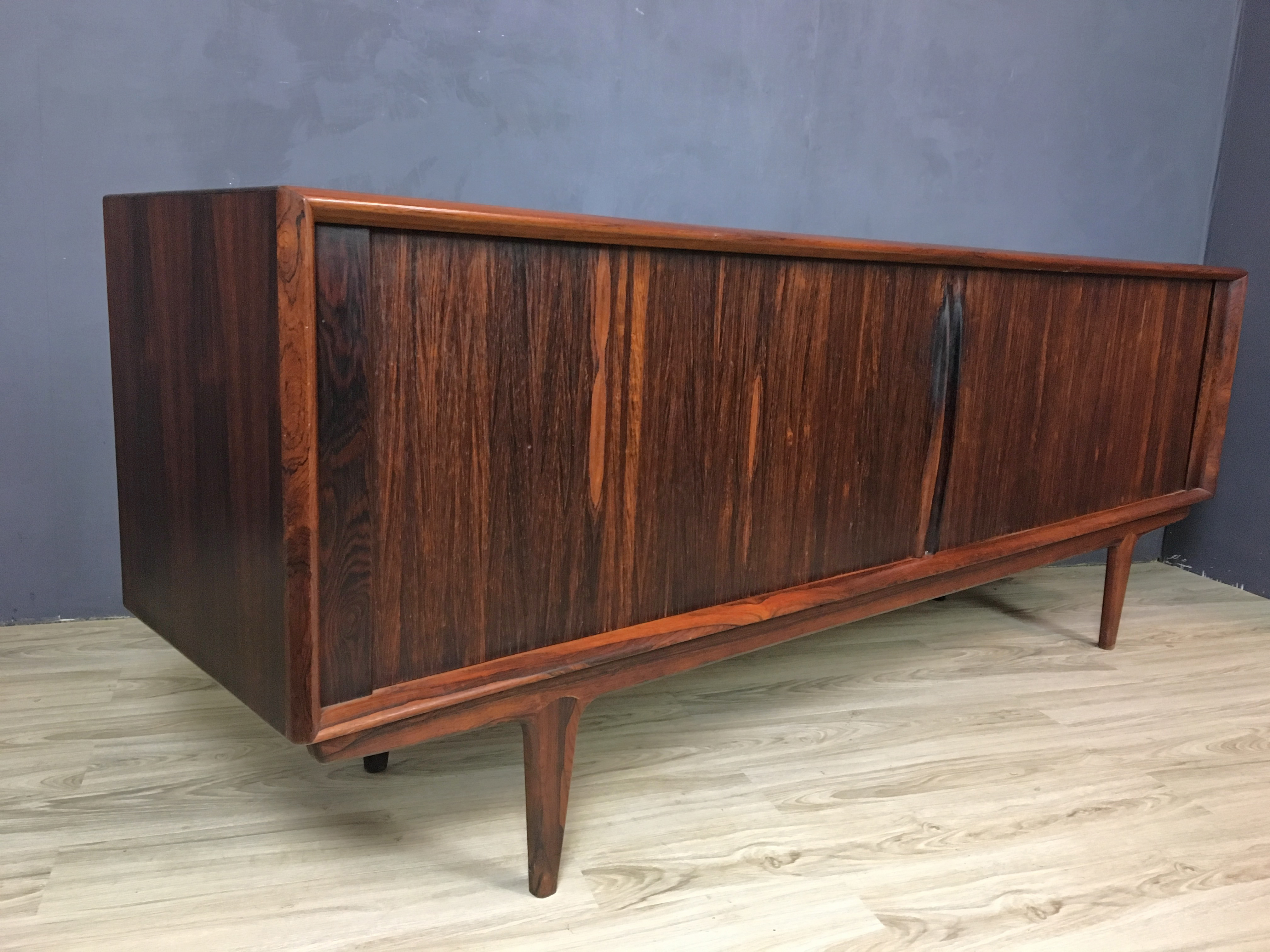 Danish Pedersen & Son Rosewood Credenza with Tambour Doors