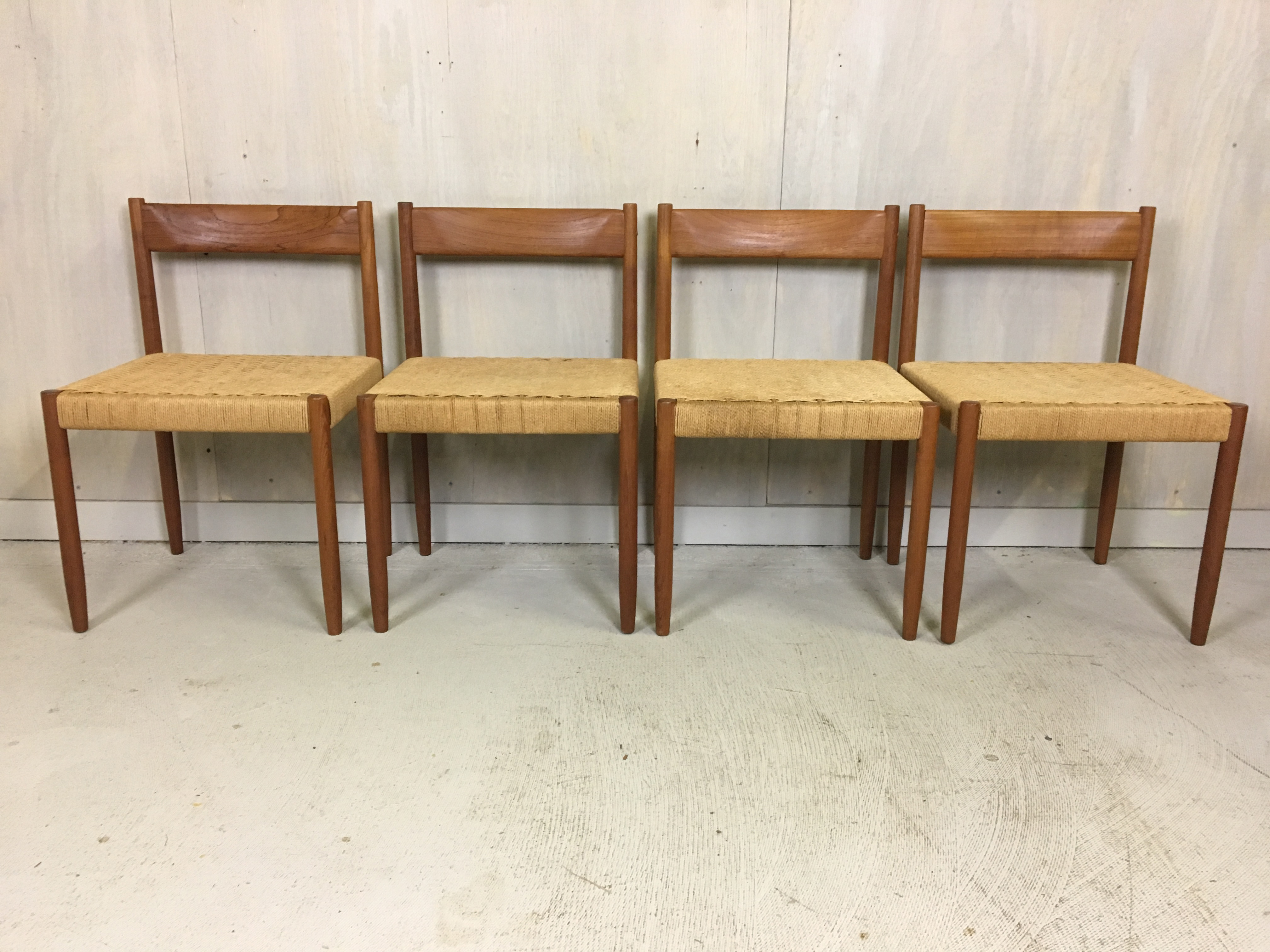 Set of 4 Teak Danish Cord Dining Chairs