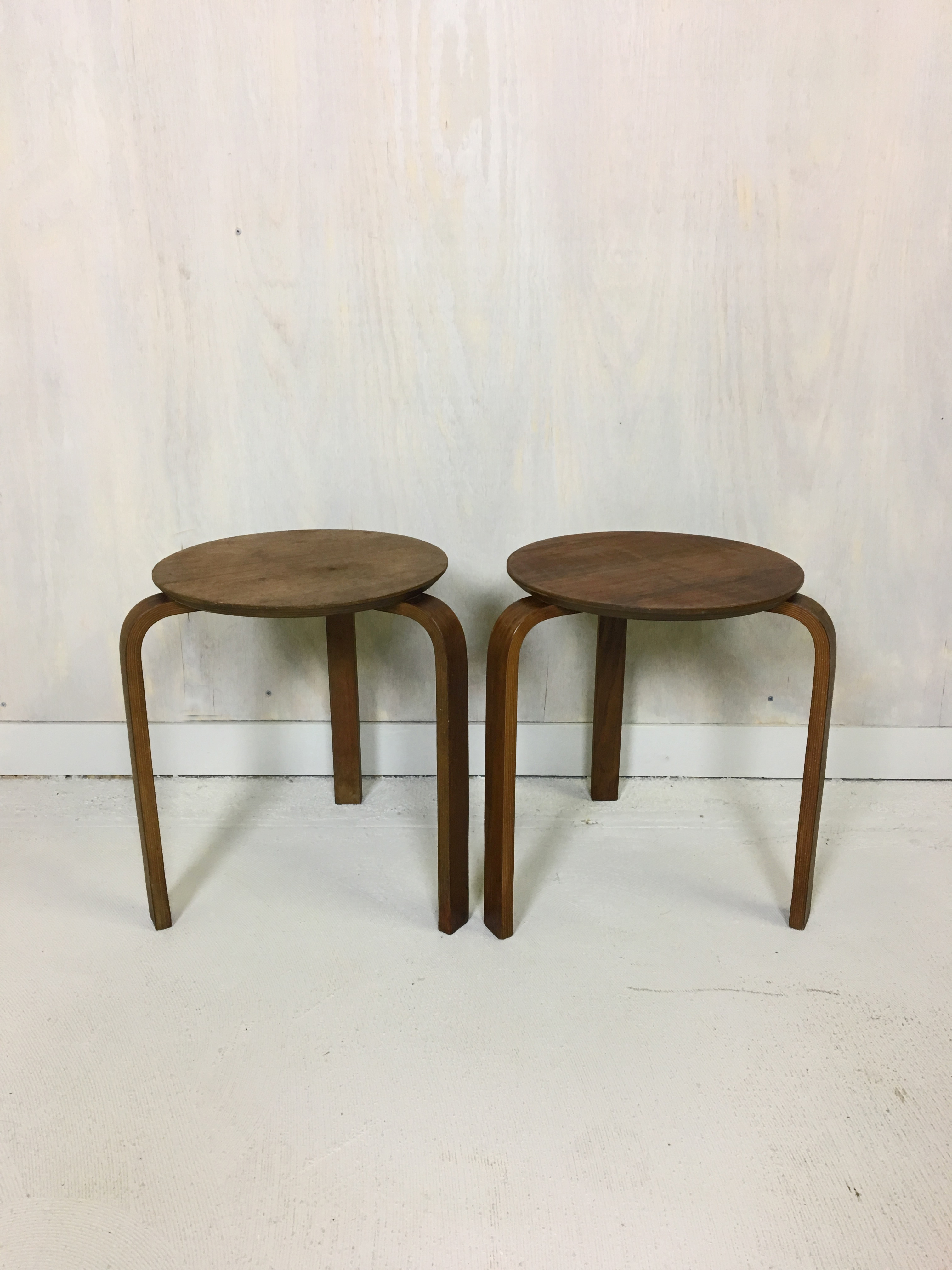 Pair of Alvar Aalto Style Stacking Wood Stools or Side Tables