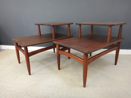 Set Mid Century Tiered Walnut Side Tables