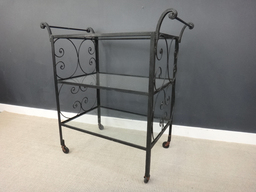 ON Sale Vintage Wrought Iron and Glass Bar Cart