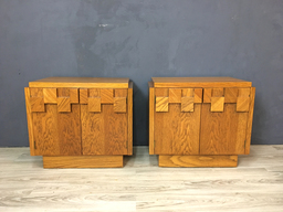 Pair of Lane Brutalist Mosaic Pattern Oak NightstandsEnd Tables