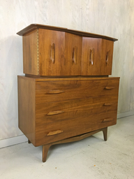 SALE  Mid Century Walnut Highboy with Nautical Cleat Pulls