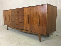 Mid Century Walnut Lowboy Bureau with Nautical Cleat Pulls