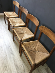 Four Danish Cord Dining Chairs in Style of Borge Mogensen
