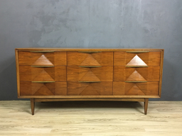 Mid Century Walnut Diamond Face Bureau