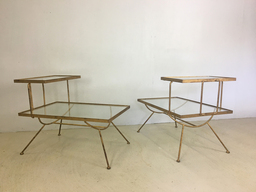 Pair of Glass and Metal Step Tables in Style of George Nelson
