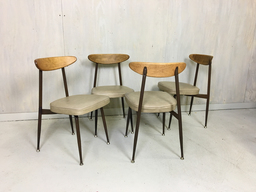 Set of Four Metal and Bentwood Dining Chairs by Viko Baumritter