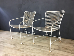 SALE  Iron Modernist Armchairs in Style of Van Keppel Green