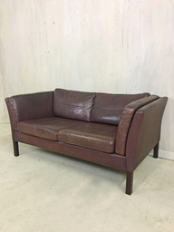 Scandinavian Brown Leather Settee