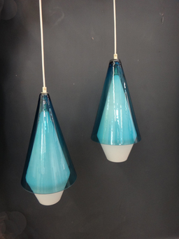 additional images for Mid Century Handblown Glass Pendant Lamps
