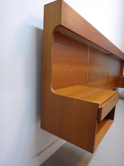 additional images for Danish Modern Teak King Headboard with Floating Nightstands
