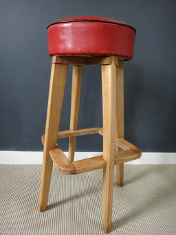 additional images for Vintage Maple and Red Vinyl Restaurant Stools