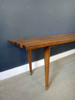 additional images for Mid Century Slatted Wood Bench
