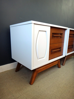 additional images for Pair Updated Mid Century Bedside Tables