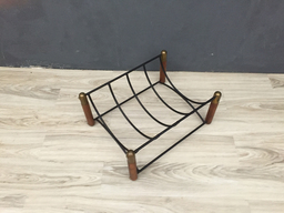 additional images for Mid Century Wood and Brass Log Holder