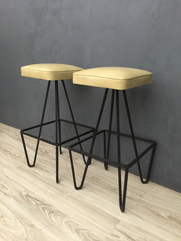 additional images for Weinberg Upholstered Cast Iron Barstools