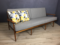 additional images for SALE - Mid Century Wood Frame Couch in Grey Upholstery