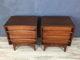 additional images for Pair Mid Century Walnut Bedside Tables