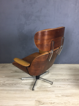 additional images for Eames Style Walnut Plycraft Chair and Ottoman