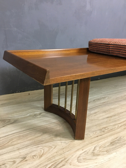 additional images for Mid Century Bench with Upholstered Cushion