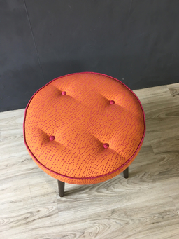 additional images for Mid Century Round Upholstered Ottoman