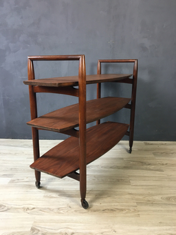 additional images for T.H. Robsjohn-Gibbings Walnut Trolley Bar Cart for Widdicomb