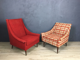 additional images for Pair of Mid Century Mr. and Mrs. Upholstered Chairs
