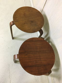 additional images for  Pair of Alvar Aalto Style Stacking Wood Stools or Side Tables